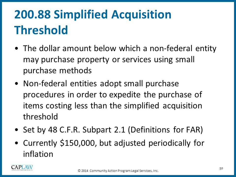 200.88 Simplified Acquisition Threshold