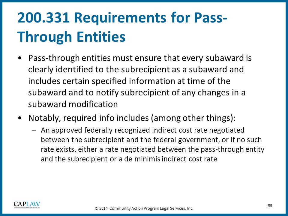 200.331 Requirements for Pass-Through Entities