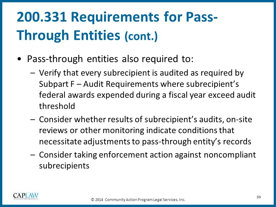 200.331 Requirements for Pass-Through Entities (cont.)