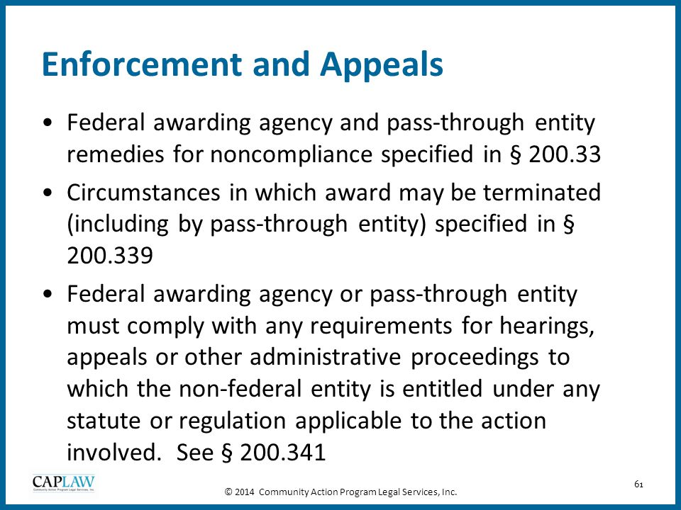 Enforcement and Appeals
