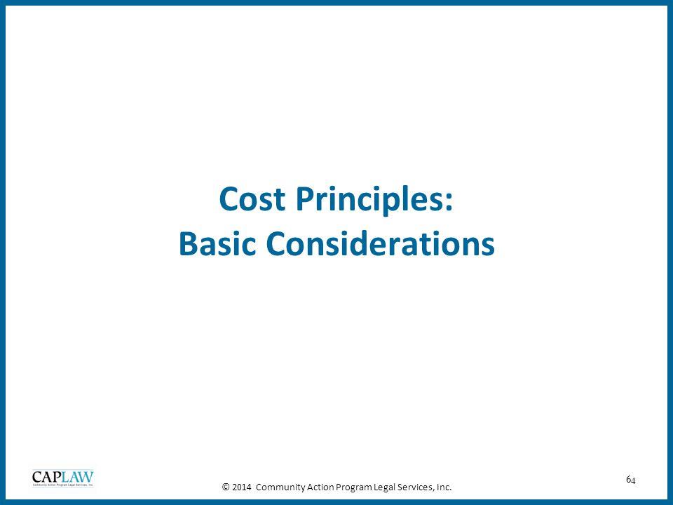 Cost Principles: Basic Considerations
