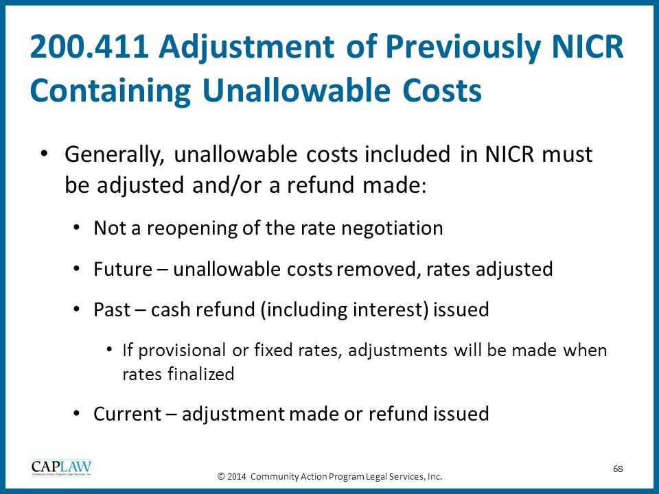 200.411 Adjustment of Previously NICR Containing Unallowable Costs