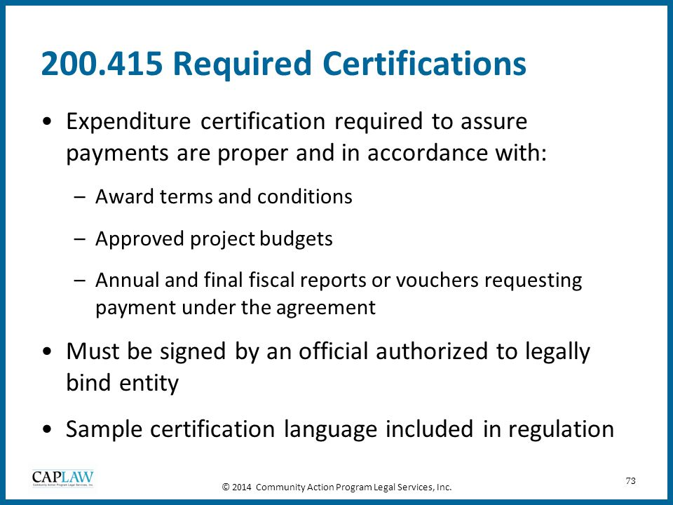 200.415 Required Certifications