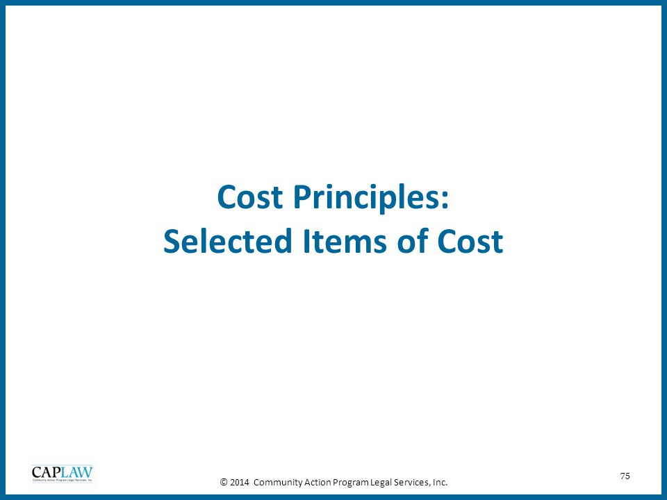 Cost Principles: Selected Items of Cost