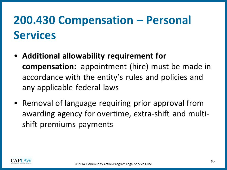 200.430 Compensation – Personal Services