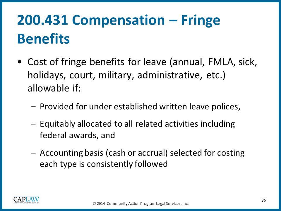 200.431 Compensation – Fringe Benefits