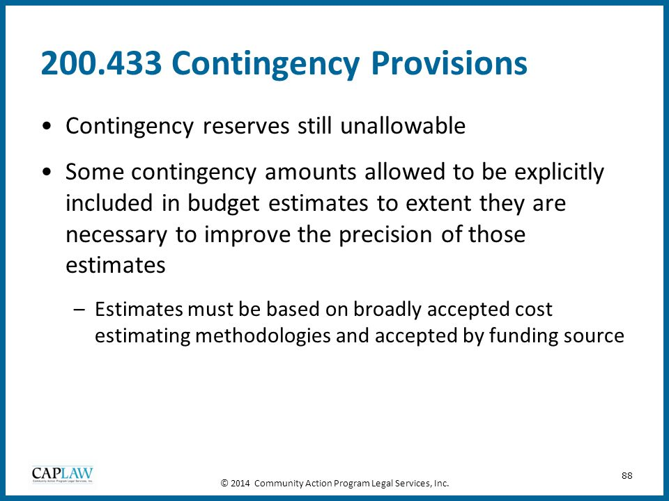 200.433 Contingency Provisions