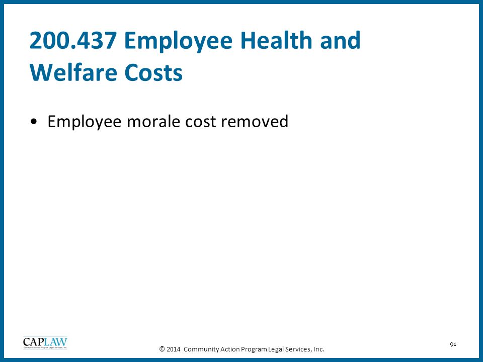 200.437 Employee Health and Welfare Costs