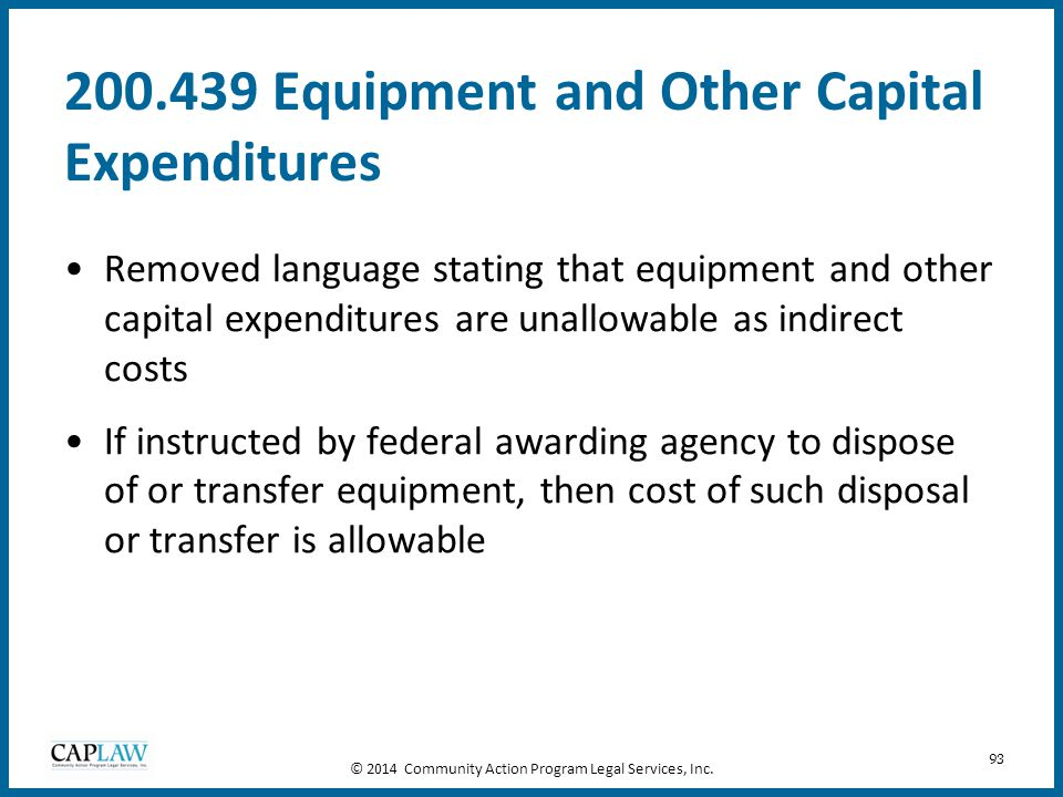 200.439 Equipment and Other Capital Expenditures