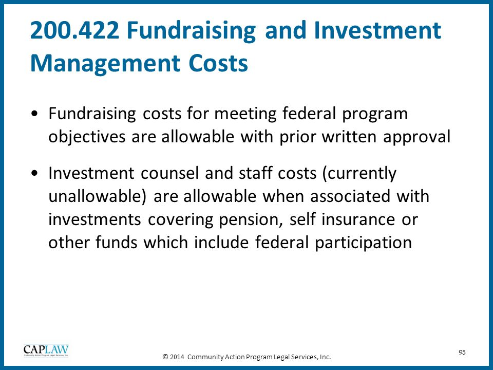 200.422 Fundraising and Investment Management Costs