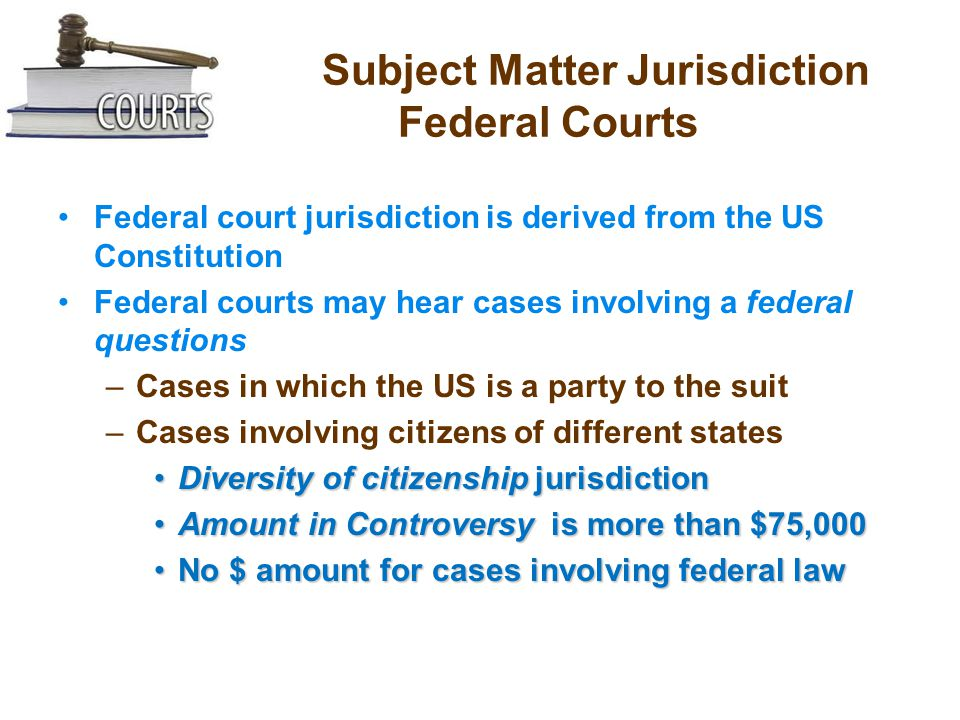 Subject Matter Jurisdiction Federal Courts