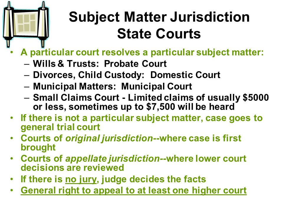 Subject Matter Jurisdiction State Courts