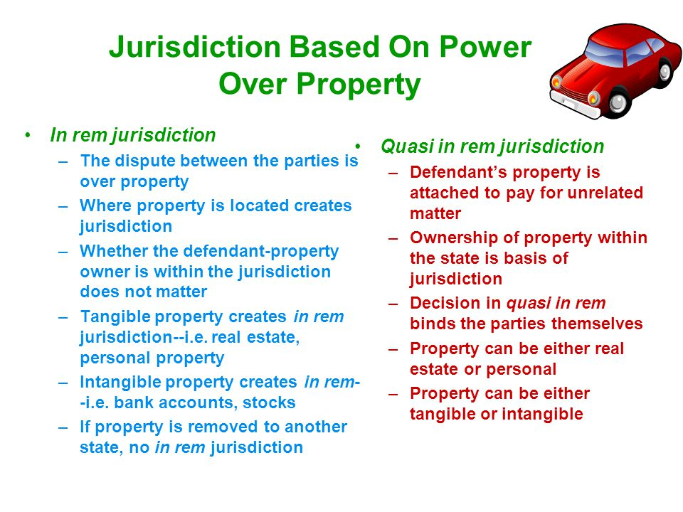Jurisdiction Based On Power Over Property