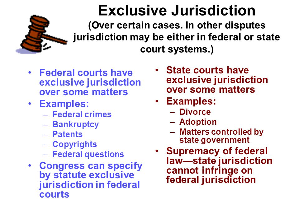 Exclusive Jurisdiction (Over certain cases