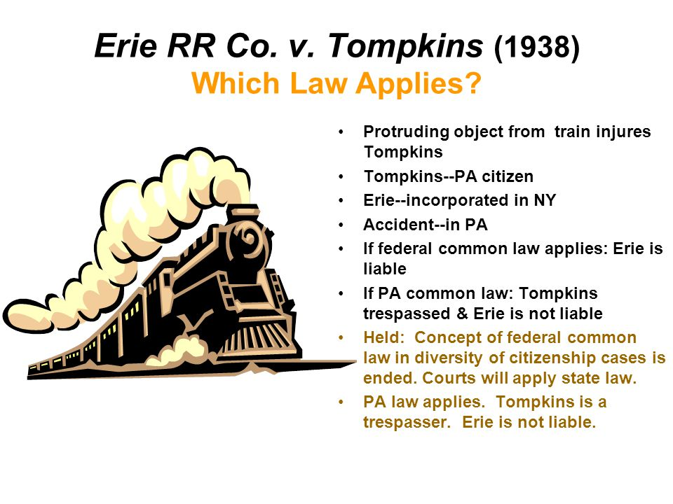 Erie RR Co. v. Tompkins (1938) Which Law Applies