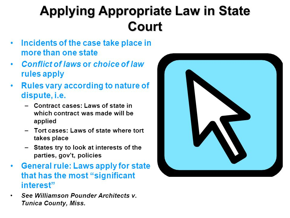 Applying Appropriate Law in State Court