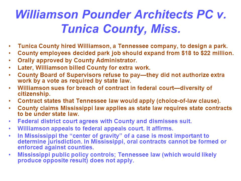 Williamson Pounder Architects PC v. Tunica County, Miss.