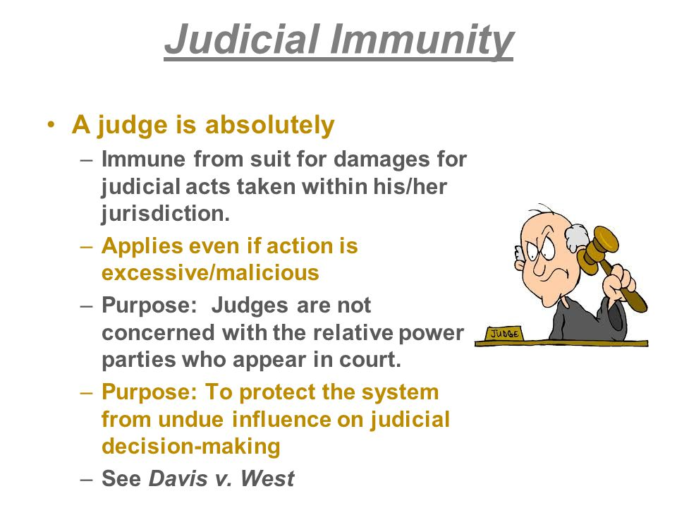 Judicial Immunity A judge is absolutely