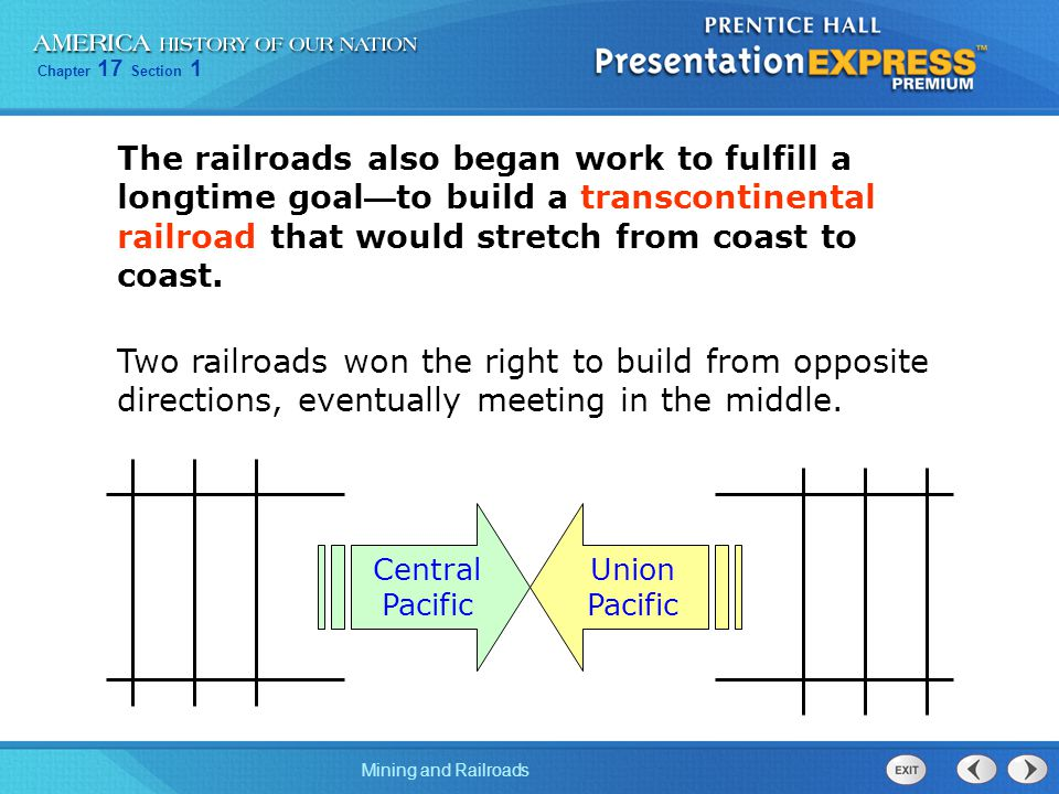 The railroads also began work to fulfill a longtime goal—to build a transcontinental railroad that would stretch from coast to coast.