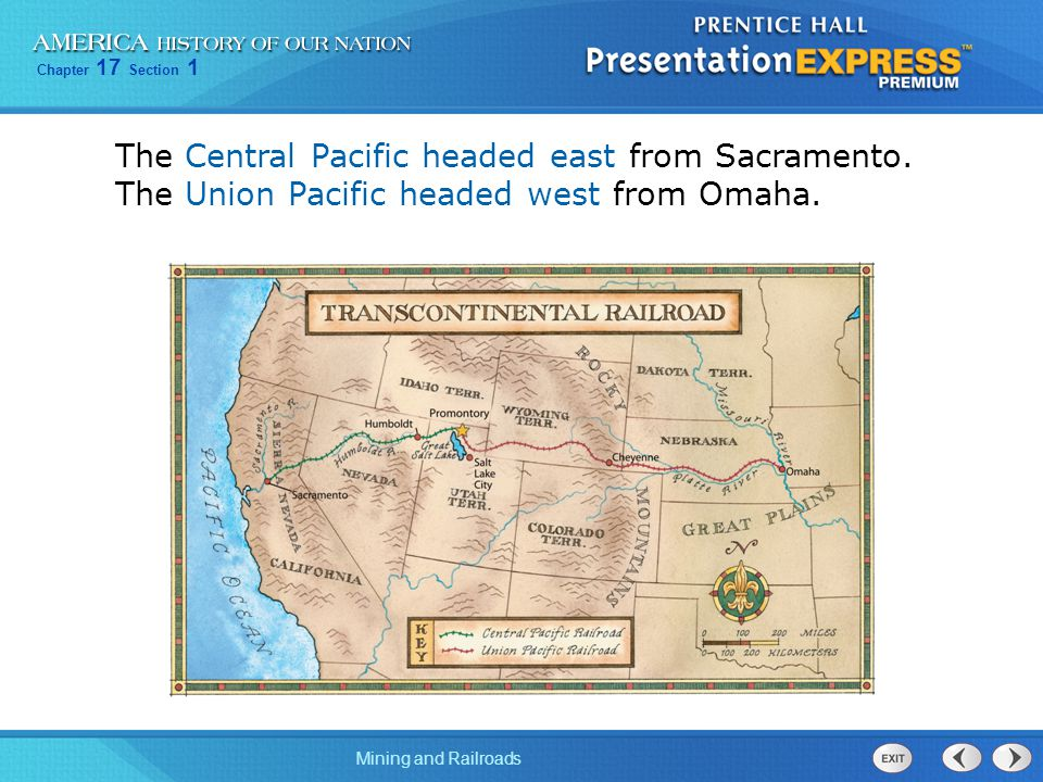 The Central Pacific headed east from Sacramento