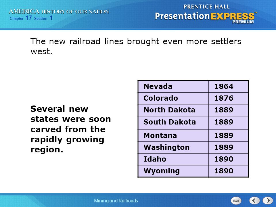 The new railroad lines brought even more settlers west.