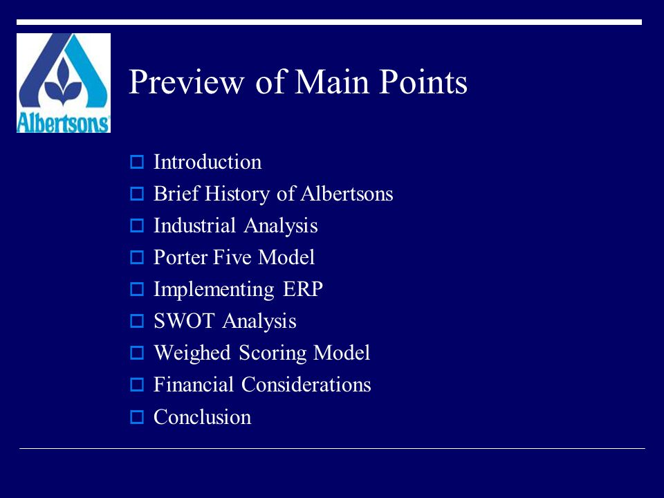 Preview of Main Points Introduction Brief History of Albertsons