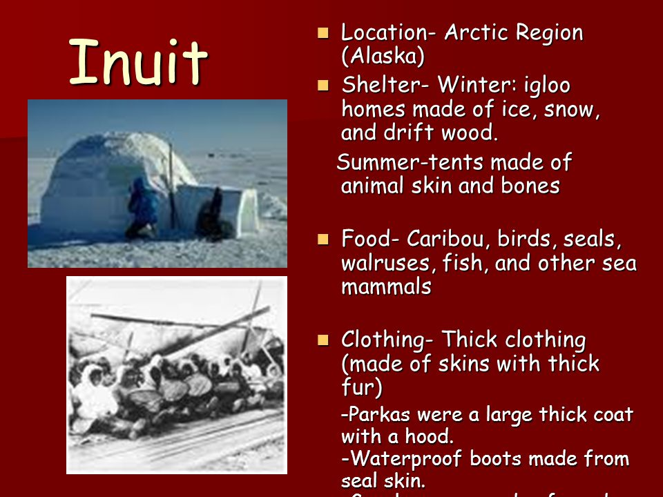 Inuit Location- Arctic Region (Alaska)