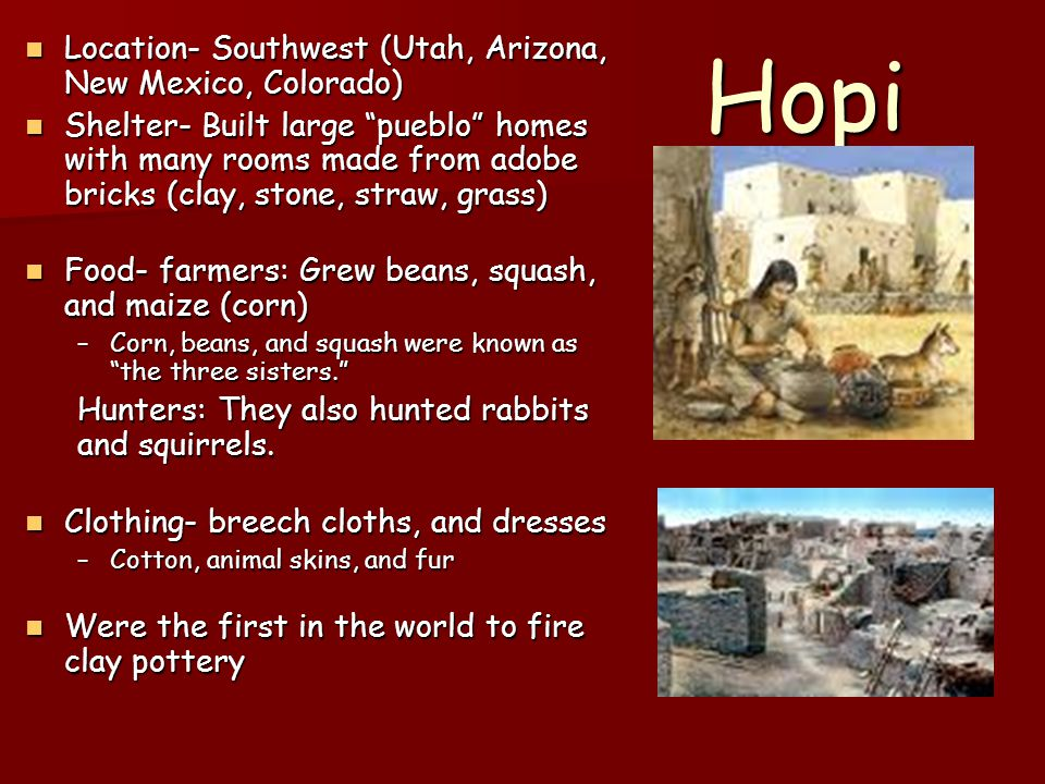 Hopi Location- Southwest (Utah, Arizona, New Mexico, Colorado)