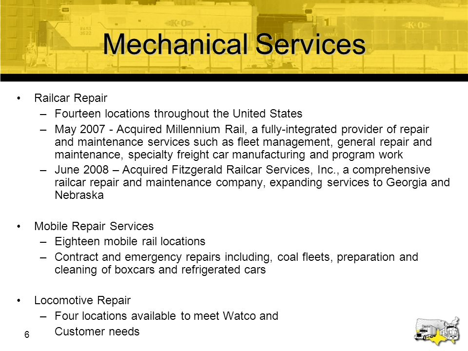 Mechanical Services Railcar Repair