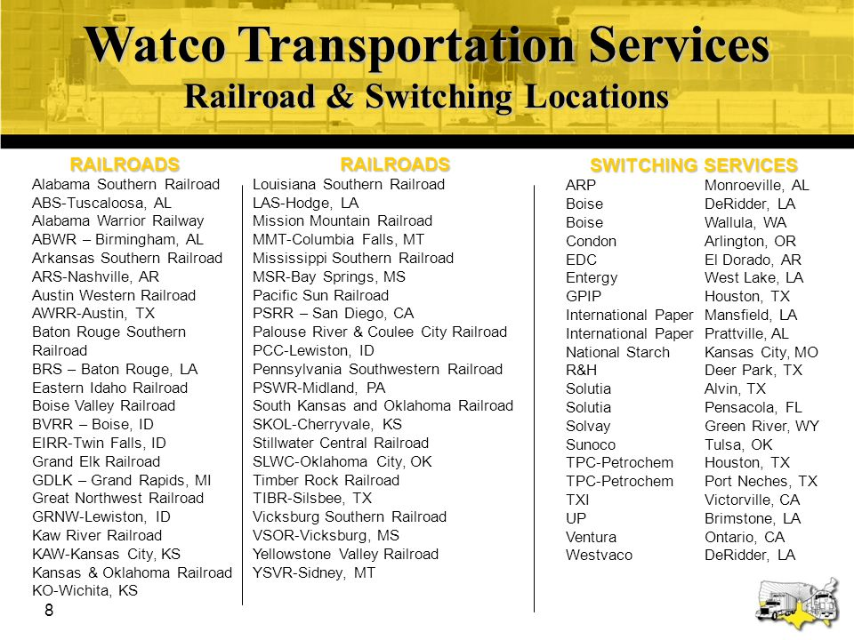 Watco Transportation Services Railroad & Switching Locations