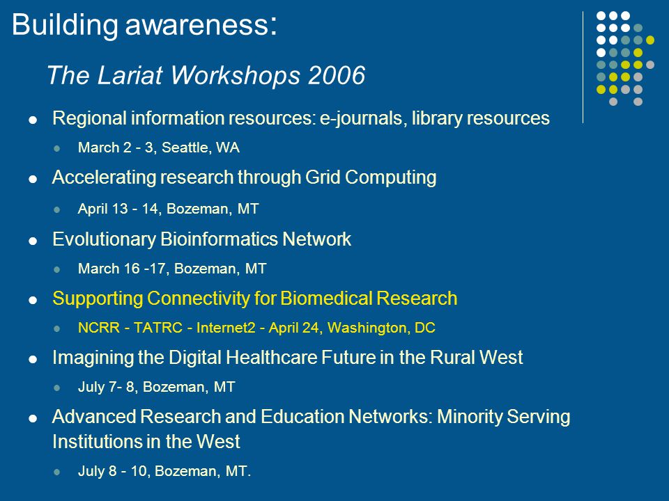 Building awareness: The Lariat Workshops 2006