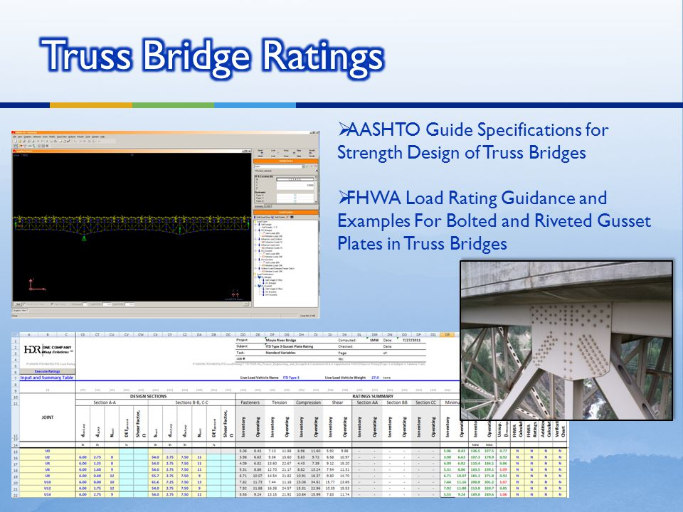 Truss Bridge Ratings AASHTO Guide Specifications for Strength Design of Truss Bridges.