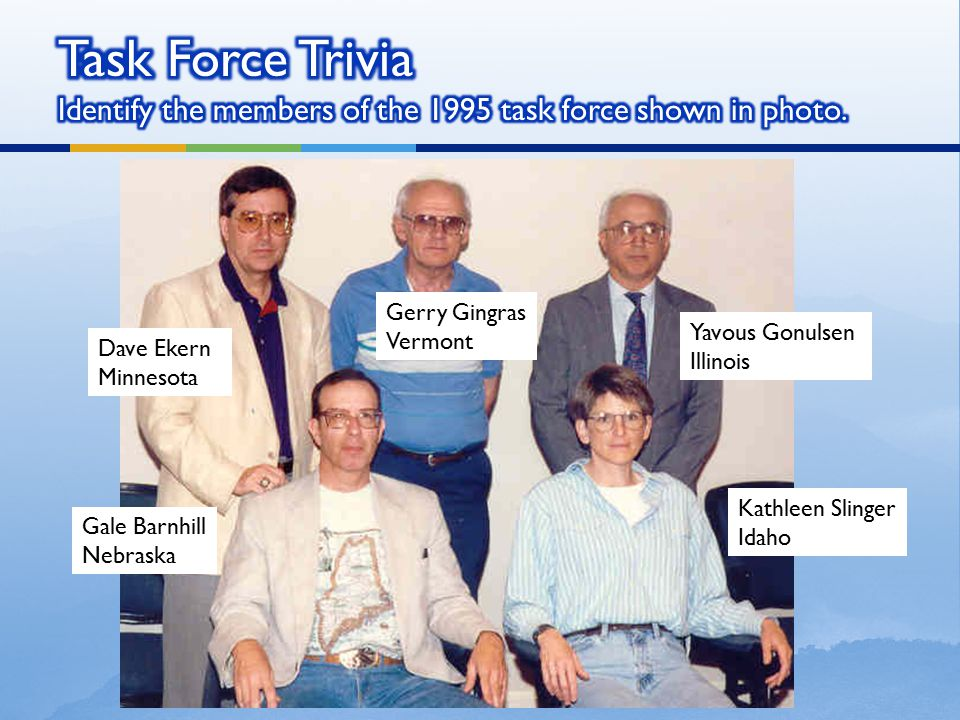 Task Force Trivia Identify the members of the 1995 task force shown in photo.