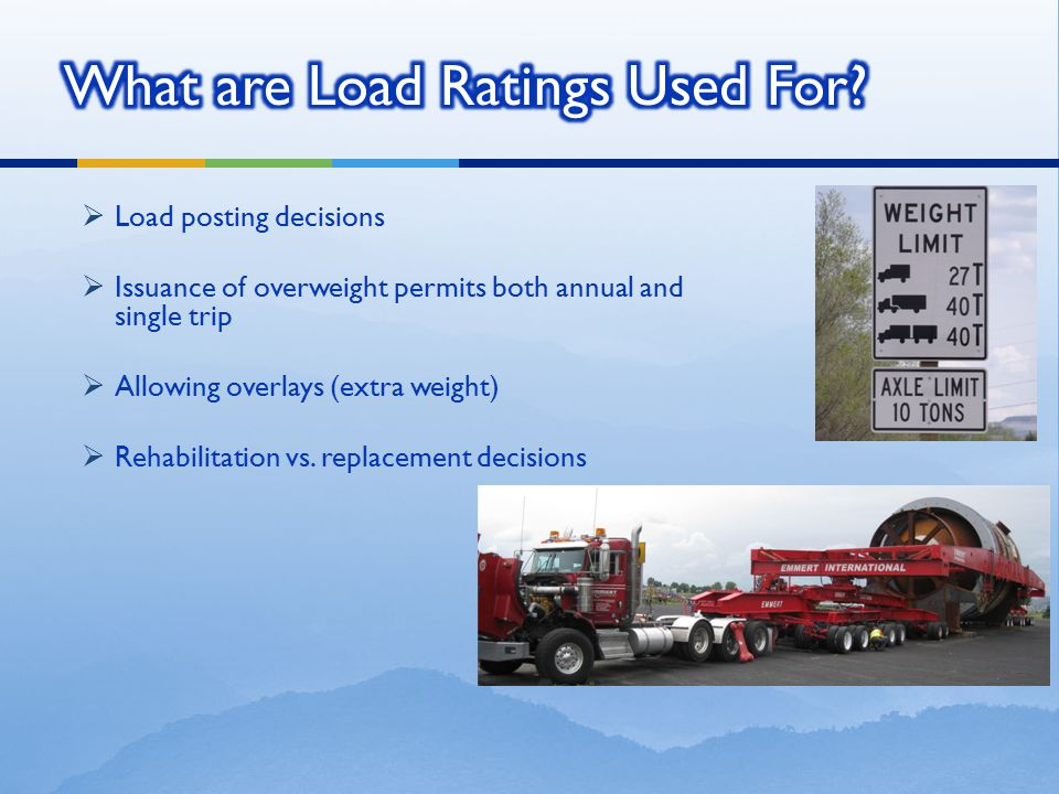 What are Load Ratings Used For