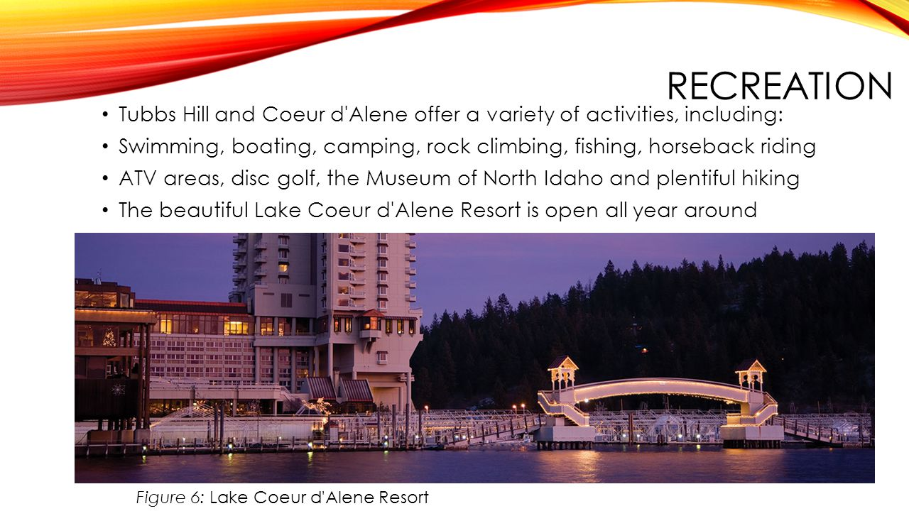 Recreation Tubbs Hill and Coeur d Alene offer a variety of activities, including: