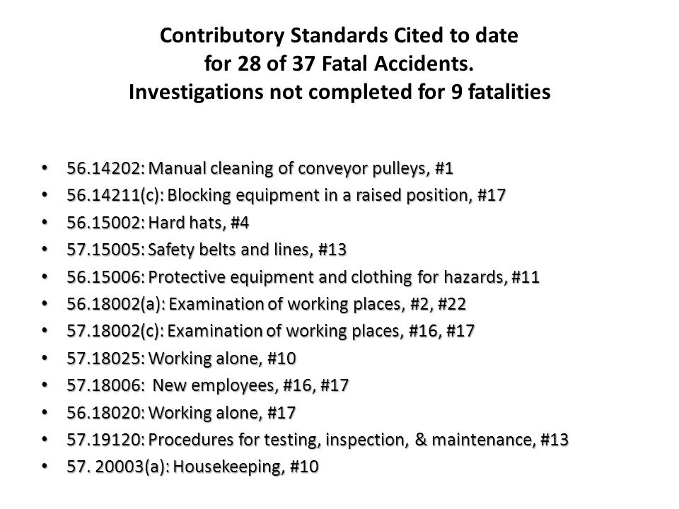 Contributory Standards Cited to date for 28 of 37 Fatal Accidents