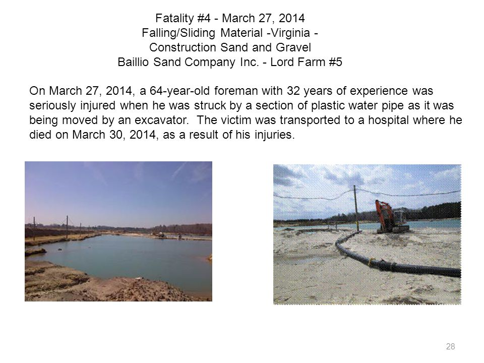 Fatality #4 - March 27, 2014 Falling/Sliding Material -Virginia - Construction Sand and Gravel Baillio Sand Company Inc. - Lord Farm #5