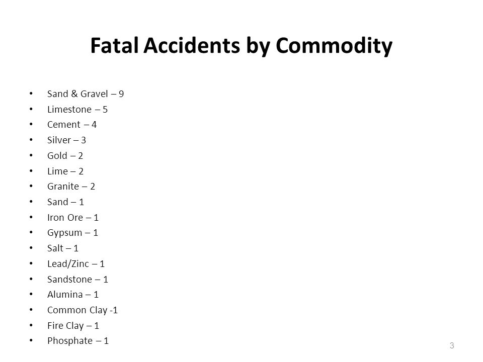 Fatal Accidents by Commodity
