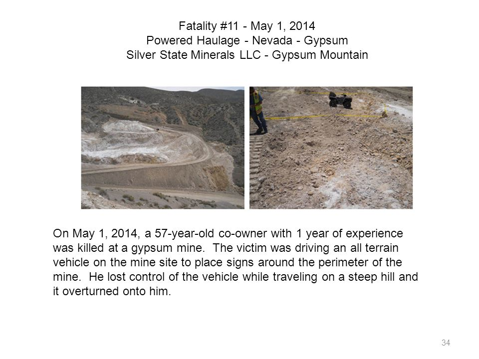Fatality #11 - May 1, 2014 Powered Haulage - Nevada - Gypsum Silver State Minerals LLC - Gypsum Mountain