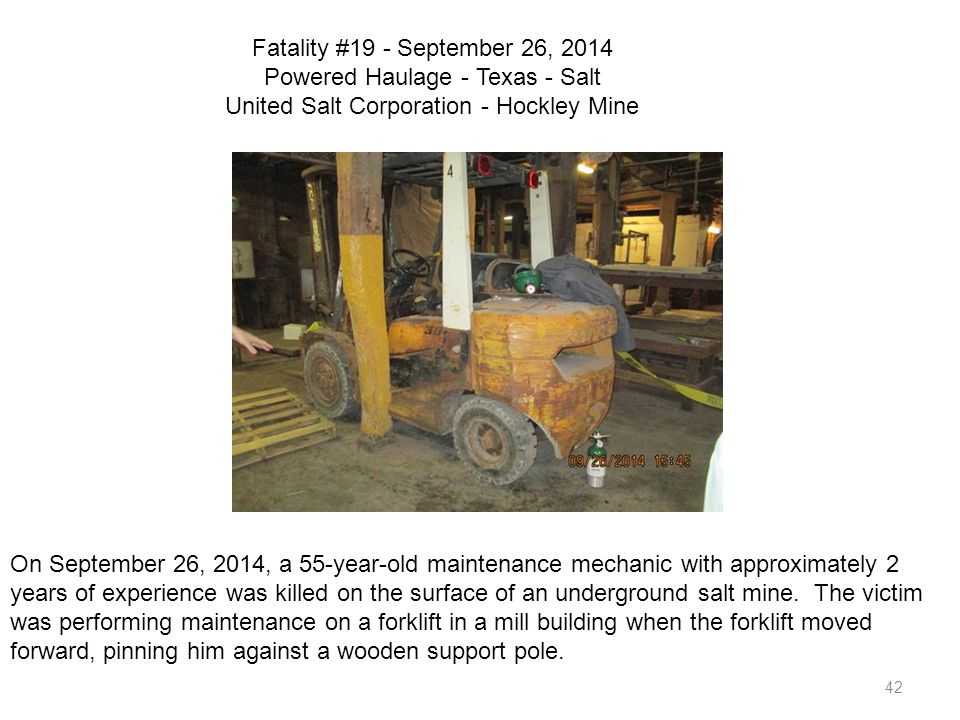 Fatality #19 - September 26, 2014 Powered Haulage - Texas - Salt United Salt Corporation - Hockley Mine