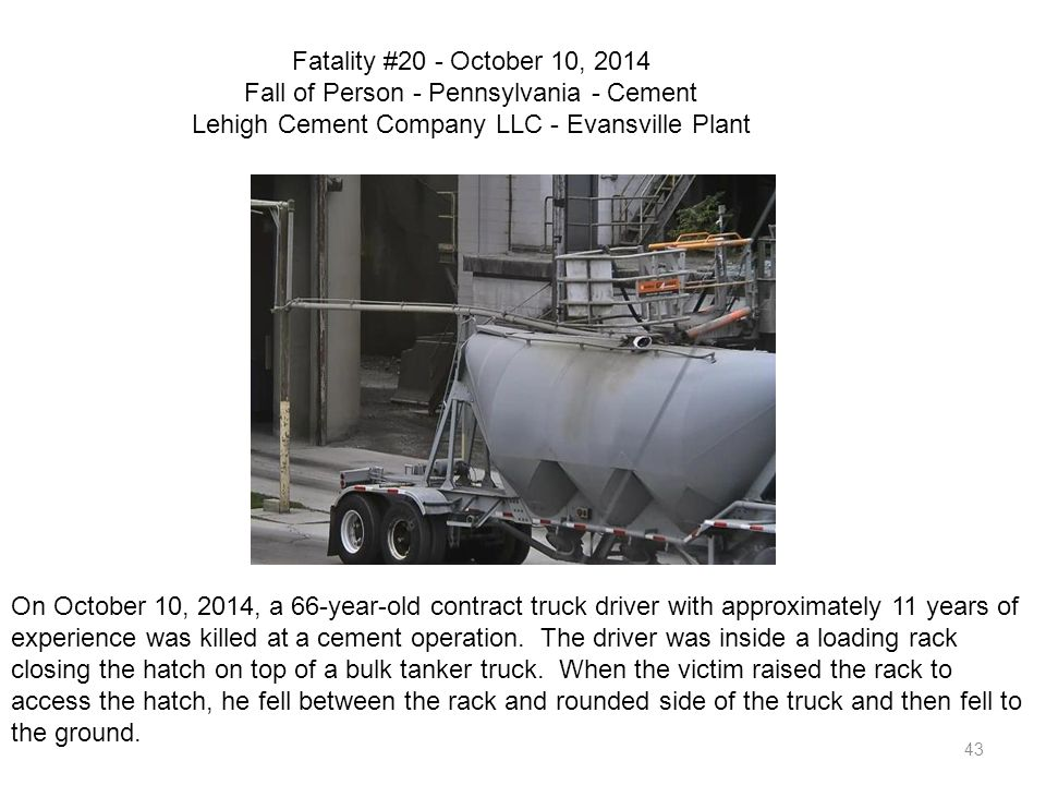 Fatality #20 - October 10, 2014 Fall of Person - Pennsylvania - Cement Lehigh Cement Company LLC - Evansville Plant