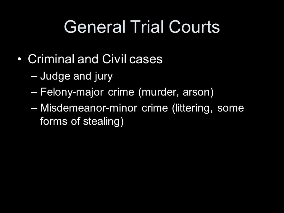 General Trial Courts Criminal and Civil cases Judge and jury