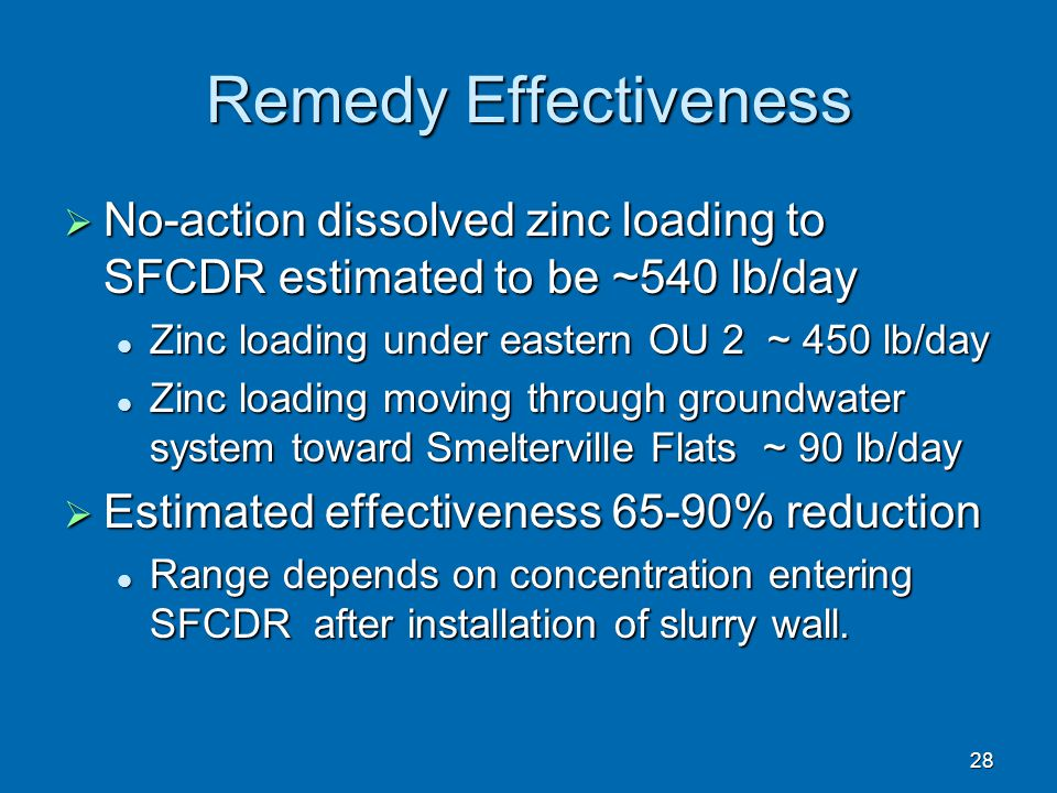 Remedy Effectiveness No-action dissolved zinc loading to SFCDR estimated to be ~540 lb/day. Zinc loading under eastern OU 2 ~ 450 lb/day.