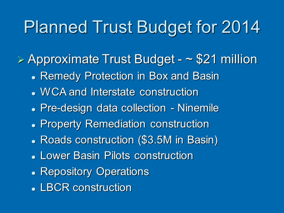 Planned Trust Budget for 2014