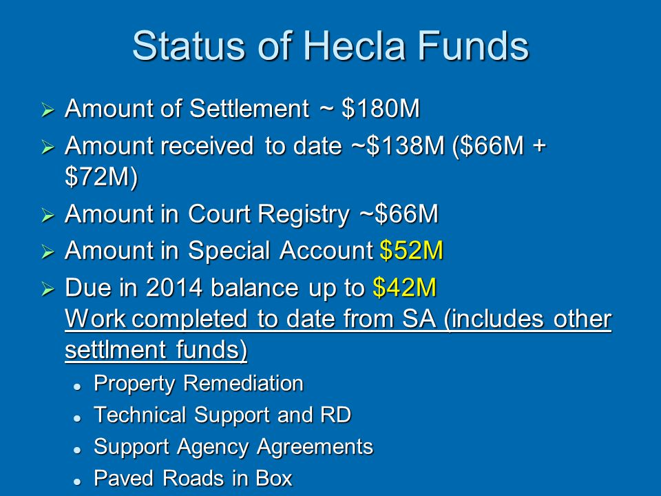 Status of Hecla Funds Amount of Settlement ~ $180M
