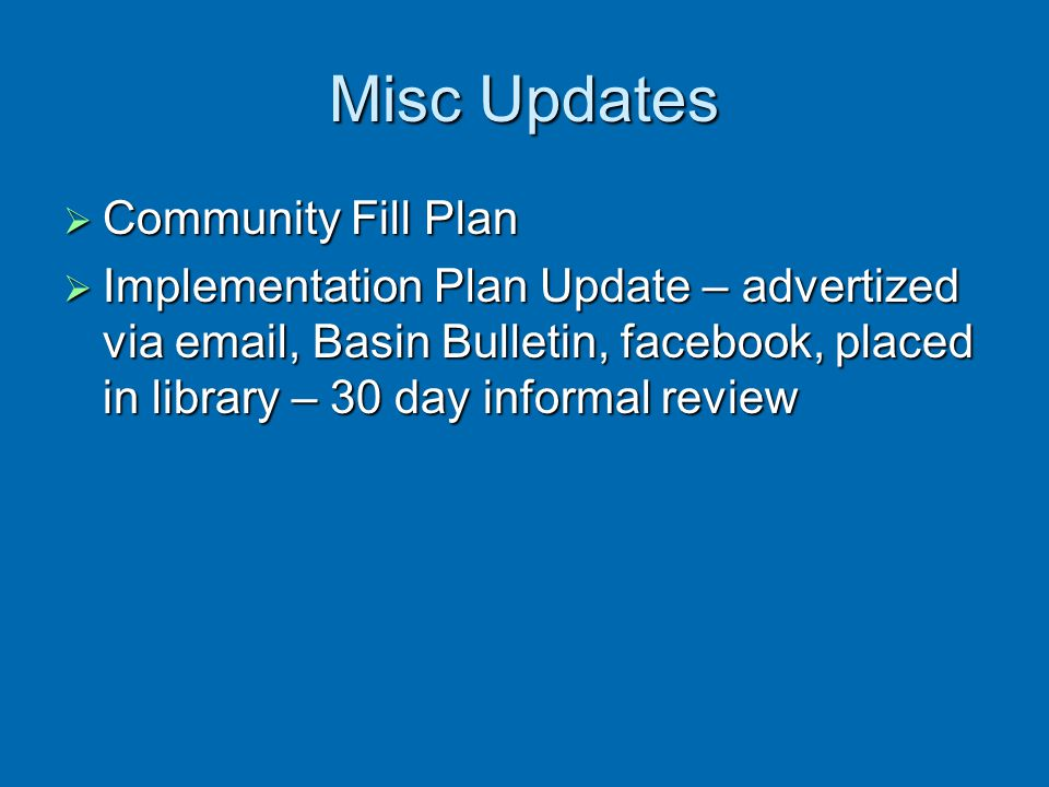 Misc Updates Community Fill Plan