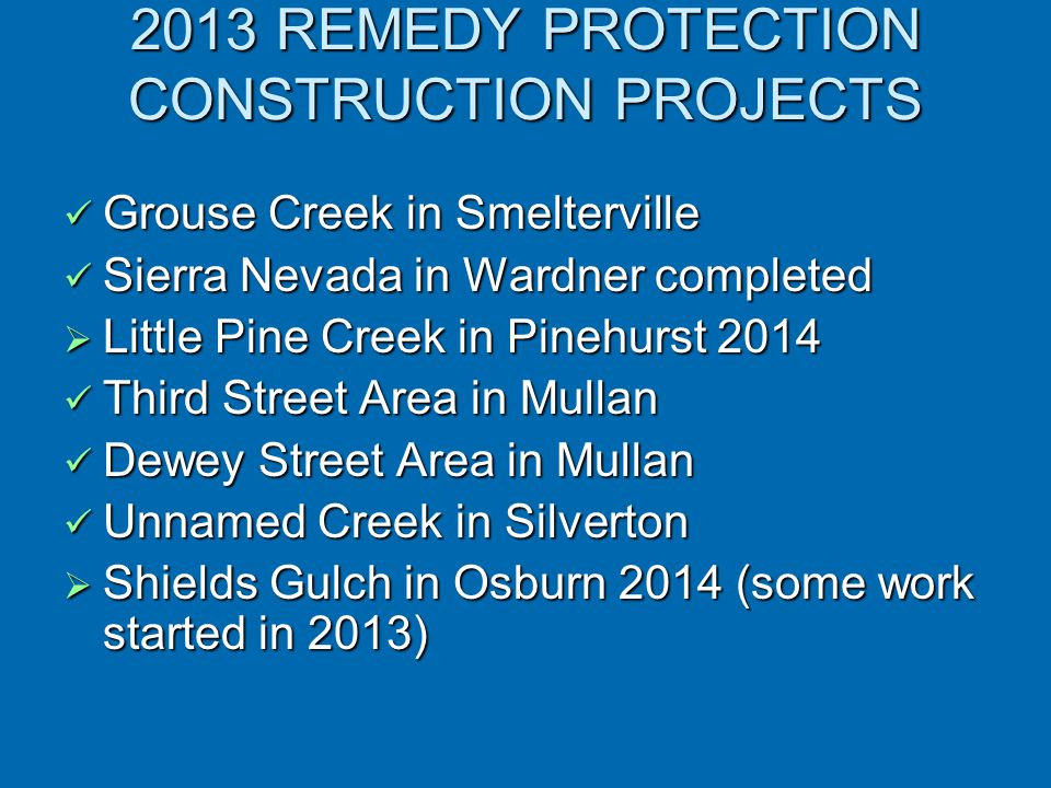 2013 REMEDY PROTECTION CONSTRUCTION PROJECTS