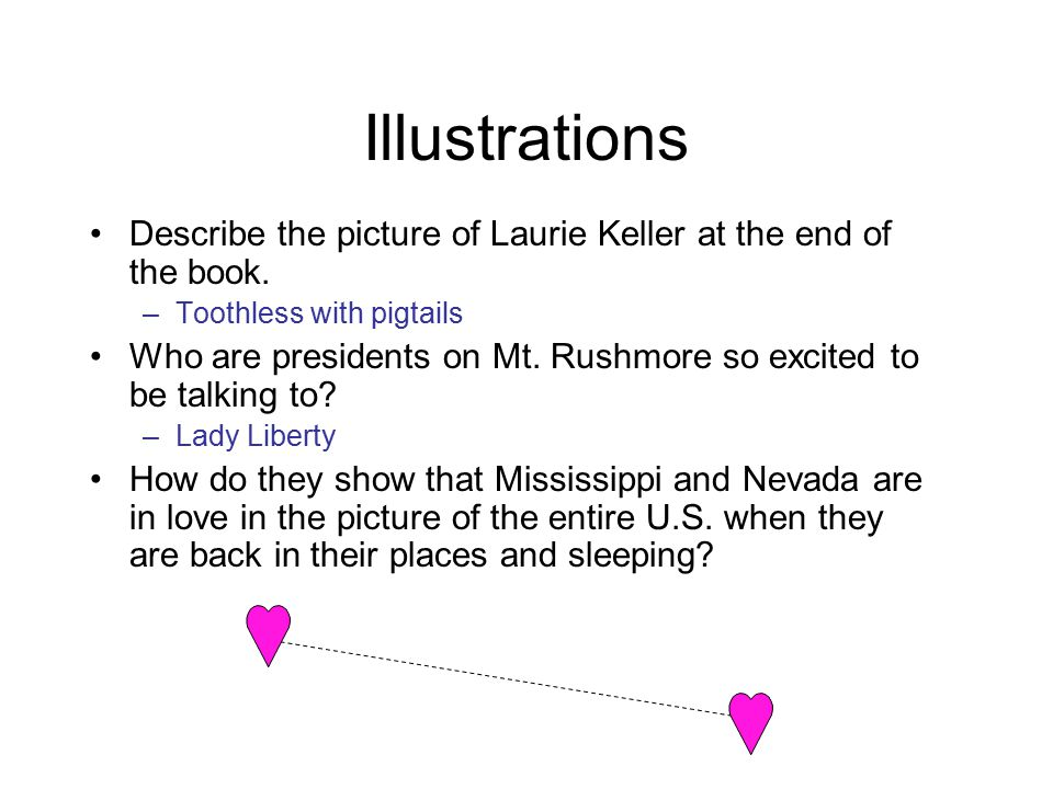 Illustrations Describe the picture of Laurie Keller at the end of the book. Toothless with pigtails.
