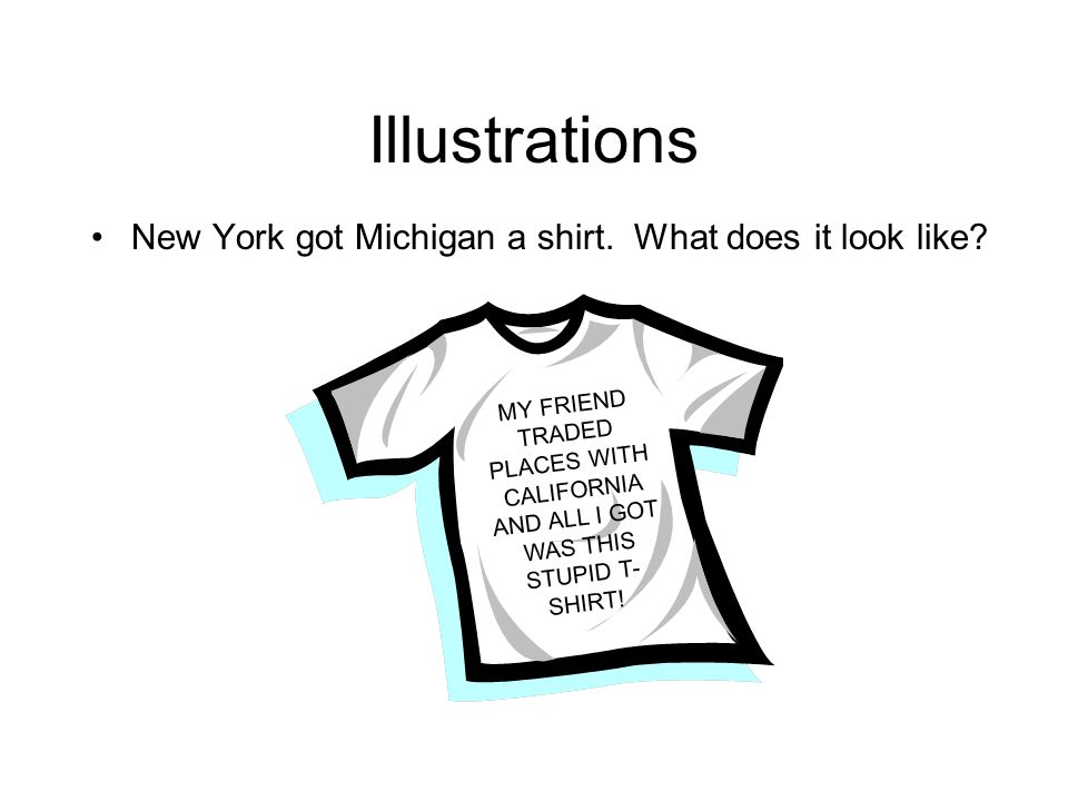 Illustrations New York got Michigan a shirt. What does it look like