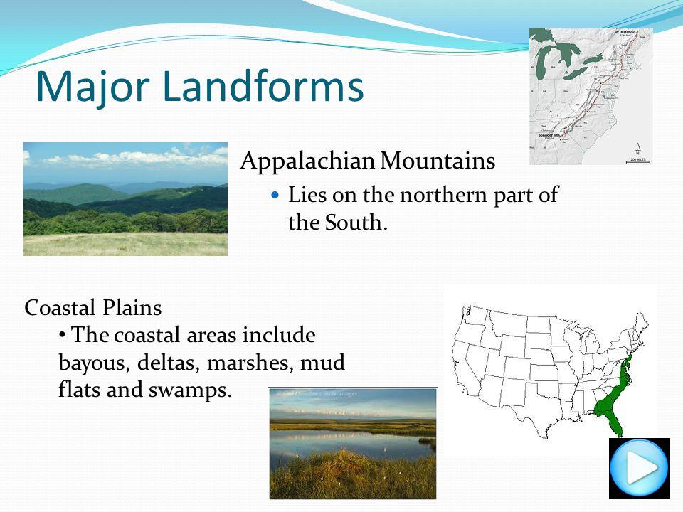 Major Landforms Appalachian Mountains